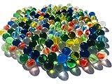 Fairy TAIL & Glitzer FEE - Juego de 100 canicas de cristal azul y ojos de gato rojo, 16 mm de piedras de cristal de canicas para rellenar jarrones y jarrones, color azul y multicolor