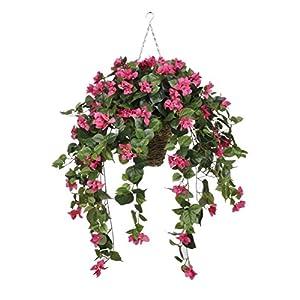 Silk Flower Arrangements House of Silk Flowers Artificial Pink Bougainvillea in Hanging Square Basket
