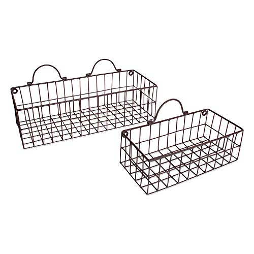 DII Rustic Farmhouse Vintage Hanging Wall Mounted Wire Metal Basket, Set of 2 Assorted, Bronze