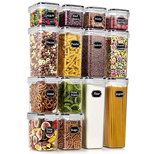 Wildone Frischhaltedosen, luftdicht, BPA-frei, für Müsli und trockene Lebensmittel, Set mit 14 Stück, für Zucker, Mehl, Snacks, Backzubehör, mit 20 Kreidetafel-Etiketten und 1 Marker