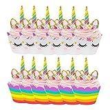 yyuezhi 12 Unicornio Mini Pastel Sombrero Superior 12 llanta+12 Cartel de Doble Cara Hecho a Mano Fiesta de los Niños Decoración de la tTorta Decoración de Cumpleaños para Niños Fiesta de Cumpleaños