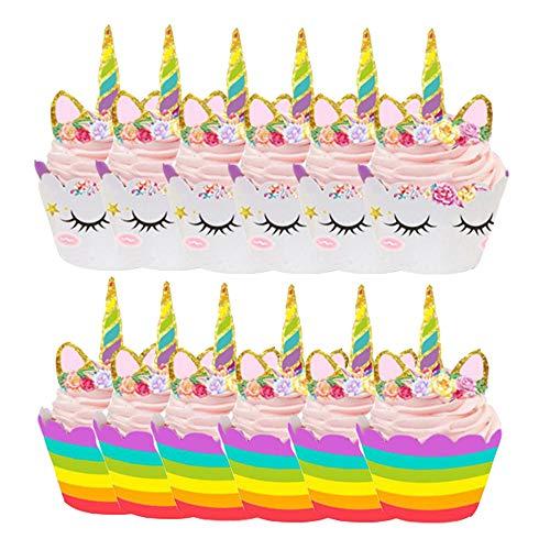 Yyuezhi 12 mini-eenhoorn, hoge hoed, 12 velgen + 12 borden, dubbelzijdig, handwerk, kinderen, party, cake, decoratie, verjaardag, decoratie voor kinderen, party, bruiloft