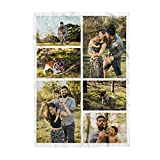 Personalized Throw Blanket. Custom Blanket with Photo Collage. Customized Picture Blanket for Family, Friend's Birthday or Wedding (6 Photos Collage, 32X48in(80x120cm))