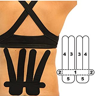 5 Pack - Kindmax Kinesiology Tape Precut Lower Back Support (Black) - K Tape for Lower Back Pain