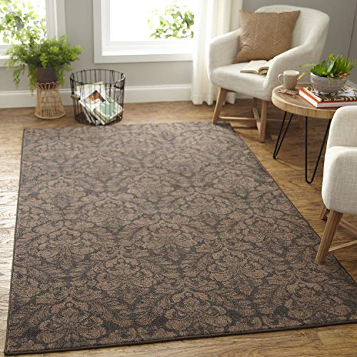 Mohawk Home Prismatic Bonjour Damask Brown Printed Contemporary Area Rug, 5'x8