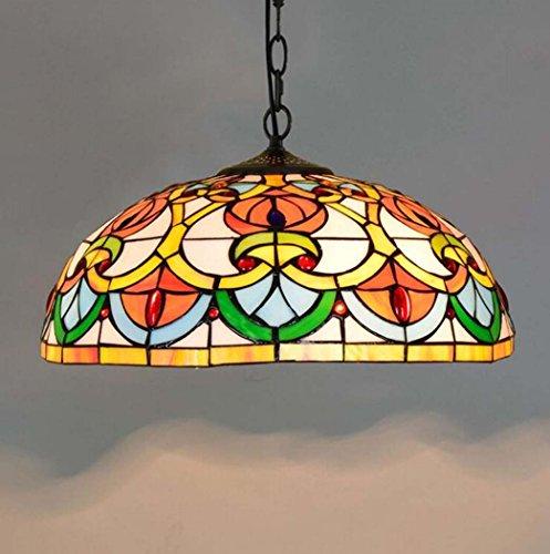 Hanglamp in Tiffany-stijl, 16 inch / 40,6 cm, met gekleurd glazen hart in de vorm van een hanglamp, voor woonkamer, slaapkamer, bar, clubhouse, restaurant, kunst E27 (zonder bron)