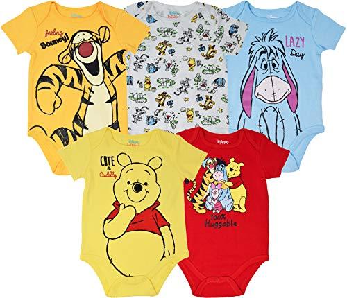 Disney Winnie The Pooh Tigger Eeyore Baby Boys Girls 5 Pack Bodysuits 6-9 Months