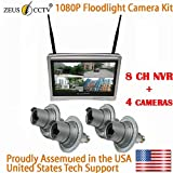 ZEUS CCTV Security Floodlight Surveillance Camera All-in-One Kit with 8CH NVR System + 4 Twist in Flood Light Cameras Complete Install Kit (Proudly Assembled in The USA)