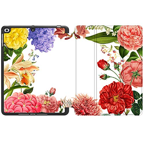SDH New iPad 9.7 Inch 2018 2017 Case with Pencil Holder, iPad Air 1 / iPad Air 2 Smart Cover Folio Stand Protective for Apple iPad 5th 6th Gen Case (A1822/A1823/A1893/A1954), Flower World 16