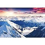 GREAT ART Mural De Pared ? Alpes Panorama ? Foto Mural Decoración Invierno Puesta De Sol Nieve Paisaje Naturaleza Montañas Glaciar Tapiz Cumbre del Paisaje De Invierno 210 x 140 cm