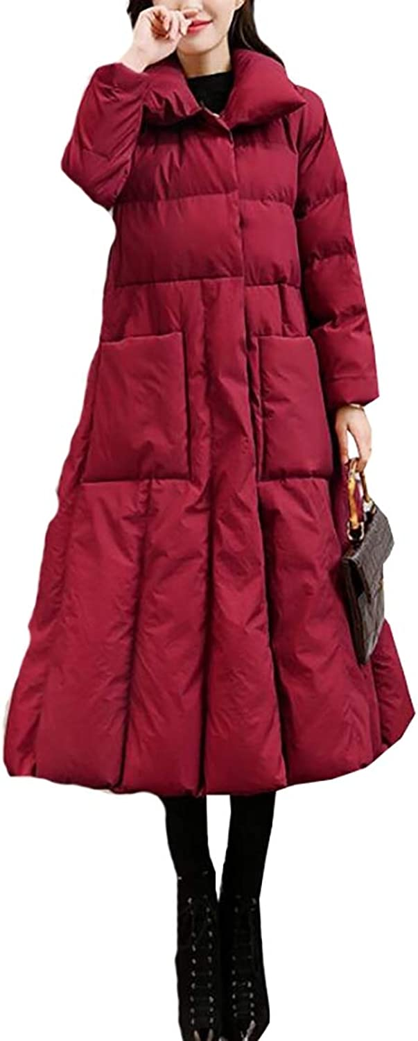 GAGA Women's Winter Lapel Neck Thicken Warm Coat Long Thick Down Jacket