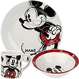 alles-meine.de GmbH 3 TLG. Geschirrset - Porzellan / Keramik - Disney - Mickey Mouse - inkl. Name - Trinktasse + Teller + Müslischale - Kindergeschirr - Frühstücksset für Kinder ..