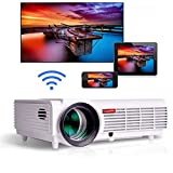 Gzunelic 5500 lumens Android WiFi 1080p Video Projector LCD LED Full HD Theater Proyector with Bluetooth Wireless Mirror to Smart Phones by Airplay or Miracast Ideal for Home