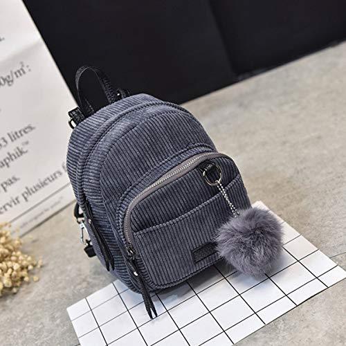 Nosii Mode koreanischen Stil Mini Rucksack samt weibliche Mini Tasche Frauen Rucksack Sweet pom pom Tasche (Color : Bluish Grey)