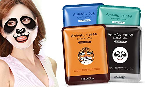 4x Pack of 4 BIOAQUA Face Moisturizing Mask With Fun Animal Characters
