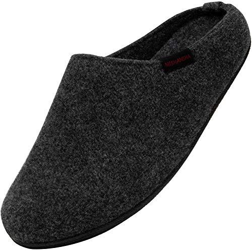 Zapatillas de Fieltro Pare Hombres Cómodas Zapatillas de Estar por Casa Calentitas Mujeres Pantuflas Fieltro Antideslizante Transpirable Slippers Interior Exterior, Negro 36