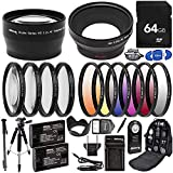 Ultimaxx 58MM Accessory Kit for Canon EOS 70D, 80D, 90D, 5DS, 5DSR, 6D, 6D Mark II, 7D, 7D Mark II, and More; Includes: 2X LP-E6 Batteries, Filter Sets, Backpack & More