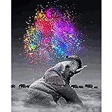 Puosike Malen Nach Zahlen Set, DIY Vorgedruckt Leinwand-Handgemalt Ölgemälde Geschenk für Erwachsene Kinder Malen Nach Zahlen Kits - Ohne Rahmen Elefant 15.7×19.7 Zoll