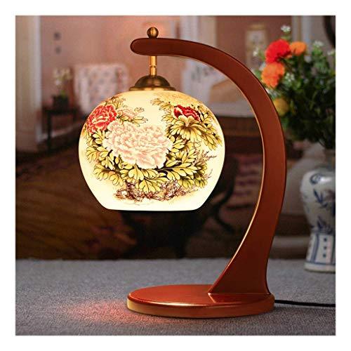 FGDSA Lámpara de Escritorio Lámpara de Mesa de Estilo Chinodecoración de cerámica de Maderaluz de EscritorioE27 y Tiempos; Interruptor de 1 botónSala de Estarsofá Dormitorio Estudio