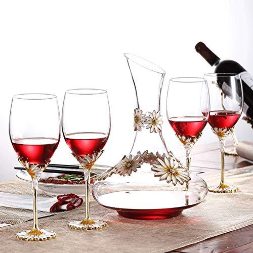 BIASTNR Emaille Iris Cystal Rotweinglas, Rotweinglas, Emaille, Luxus-Weinglas, Kristall, bleifrei, Glaskelch, Geschenk für Hochzeit, Jahrestag, Weihnachten, transparent