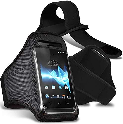 [XXL, Negro] Deporte Brazalete Impermeable Aptitud Gimnasio Soporte Teléfono para Sharp Aquos S3 Mini
