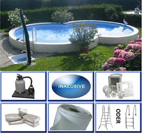 Summer Fun Stahlwandbecken Set Kreta Exklusiv achtform 3,20m x 5,25m x 1,50m Folie 0,6mm Super Komplettset Pool Achtformpool / 320 x 525 x 150 cm Stahlwandpool