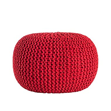 Saro LifeStyle PU312.R  Cotton Twisted Rope Pouf , Red, 20 x14