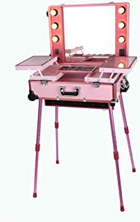 Maylan Makeup Train Stand Case With Pro Studio Artist Trolley And Lights, Pink - Large