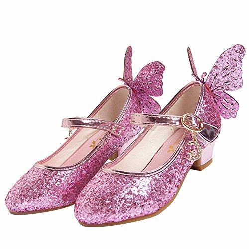 LSERVER Mädchen Schuhe Pailletten Prinzessin High Heels Kinderschuhe Tanzschuhe, Rosa, 32(Innere länge 20.5cm)