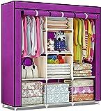 Clagor 3-Door Foldable Wardrobe, 8 Racks, Purple