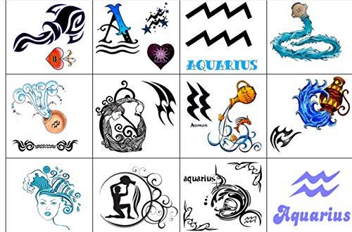 segno zodiacale stella zodiac star sign Collezione di tatuaggi temporanei Temporary Tattoos collection (Acquario tatuaggio Aquarius tattoo)