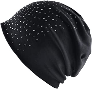Europe and America Women hot Drilling Head Cap Autumn and Winter Warm Rhinestones Knit hat Solid Color hat
