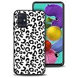 Pnakqil Funda para Samsung Galaxy A51 4G Negra Silicona con Dibujos Diseño Ultrafina y Ligero Suave Carcasa [Antigolpes] Gel TPU Goma Bumper Protectora Piel Caso Cover, Leopardo Blanco