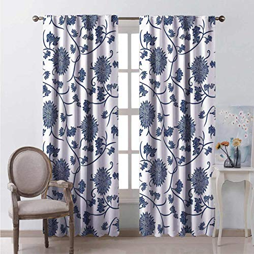 Toopeek Blue Shading insulated curtain Chinese Floral Garden Pattern Nature Inspirations with Traditional Ornament Design Soundproof shade W52 x L54 Inch Blue White