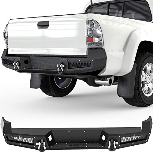 OEDRO Rear Step Bumper Compatible with Toyota Tacoma 2005-2015 2nd Gen Pick-up, Steel Assemblywith D-ring Shackles, Black