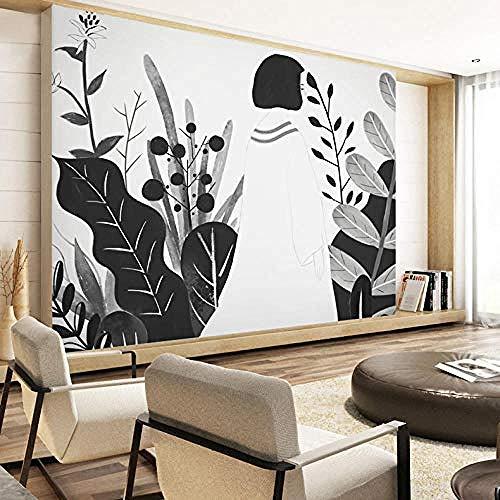 Mural en blanco y negro, papel tapiz de arte cómico de chica generosa, sala de estar, dormitorio, pa Pared Pintado Papel tapiz 3D Decoración dormitorio Fotomural sala sofá pared mural-300cm×210cm