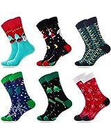 Mens Christmas Socks Cotton Novelty Funny Calf Socks 6 Pairs (Size: 6-11)