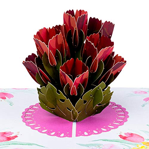 Paper Love Tulip Bouquet Pop Up Card, 3D Popup Greeting Cards, For Birthday, Wedding, Anniversary, Mother