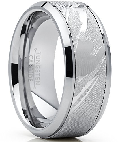 9MM Herren Wolframcarbid Ring Verlobungsringe Trauringe Hochzeitsband mit Damastmuster eingelegt Größe 54
