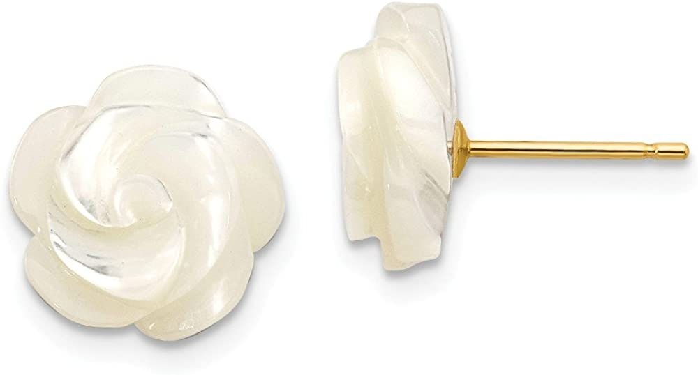 Solid 14k Yellow Gold 10mm White Mother of Simulated Pearl Flower Post Stud Earrings