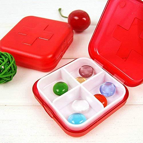 Pastillero portátil de 4 compartimentos, caja de pastillas, cuadrada de plástico rojo, pastillero para uso diario o de viaje (4 piezas)