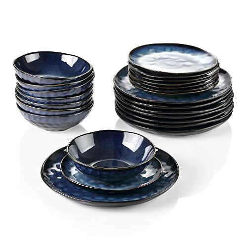 vancasso Starry Servizio Piatti 24 Pezzi Servizio da Tavola in Porcellana di Alta qualità Servizio Combinato in Ceramica Servizio da Pranzo in Design Nebulosa per 8 Persone Colore Vintage di Blu
