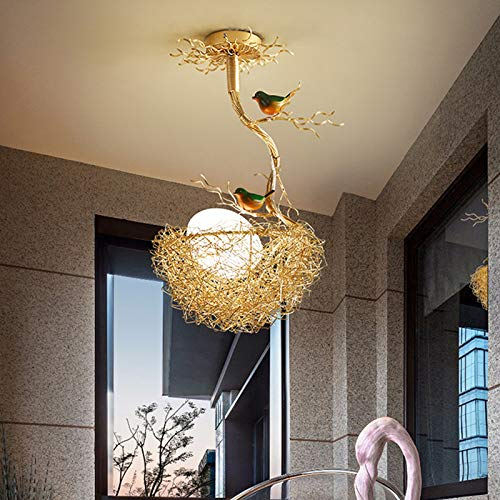 LITFAD 1 Light Woven Nest Chandelier Light Contemporary Metal and White Glass Pendant Lamp with Bird Accents Creative LED Hanging Ceiling Light Fixtur for Dining Room Living Room Restaurant