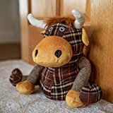 Homezone® Novelty Highland Cow Door Stop Strong Durable Fabric Door Wedge Stopper Home Decor Decorative Plush Animal Soft Cuddly Child Safe