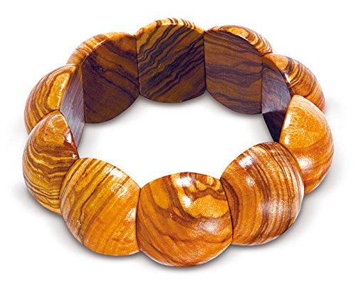 Arte Legno - Arm-Band Armreif aus Oliven-Holz (Durchmesser ca. 6 cm / mit Gummizug)
