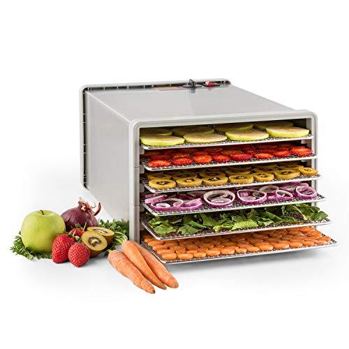 KLARSTEIN Fruit Jerky Pro 6 - apparecchio disidratatore, essiccatore, 630 Watt, 6 piani, rimovibili singolarmente, Temperatura regolabile, 0,65 m² superficie secca, Ventilatore, argento
