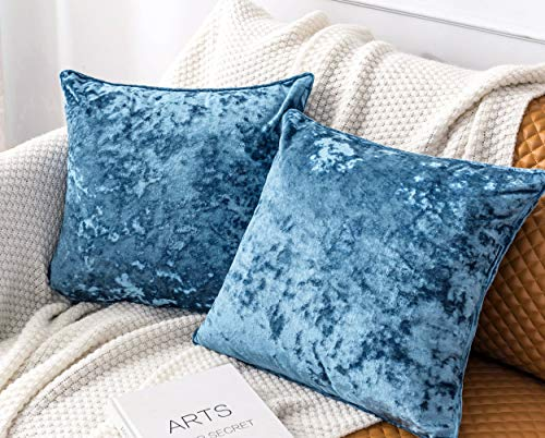 """PANDATEX Luxury Crushed Velvet Blue Throw Pillow Covers Pack of 2 for Sofa Couch Chair, 18""""x 18"""" Square Home Plush Decorative Pillowcases Cushion Cover for Bedroom Living Room Car"""