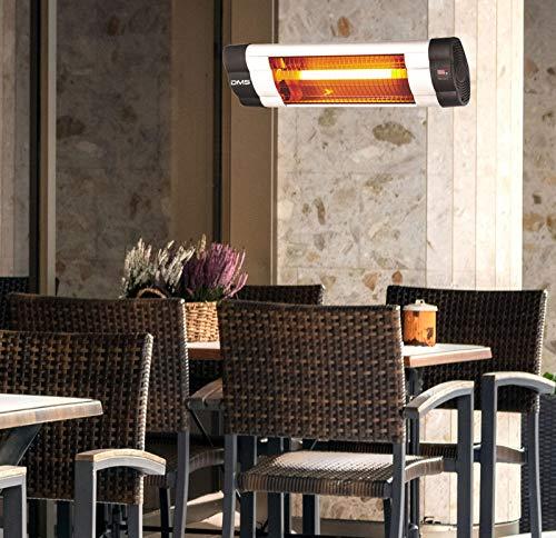 DMS® Infrarotstrahler | 2500 Watt | Heizstrahler | Terrassenstrahler | Wärmestrahler | Innen- und Außenbereich | Fernbedienung | Timer | Wandhalterung | Heizkörper | 3 Heizstufen