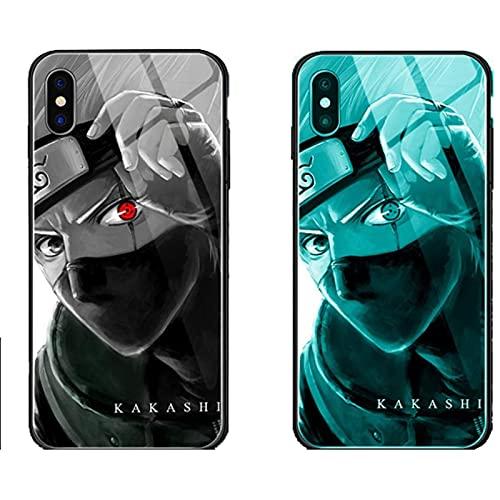 ZMMZ Anime Naruto Sasuke Kakashi Brillante Caja de Teléfono de Cristal para iPhone 6 6S 7 8 Plus X XR XS Max 11 12 Pro Max Mini SE 2020, Anti-choque Anti-caída cubierta D- 8