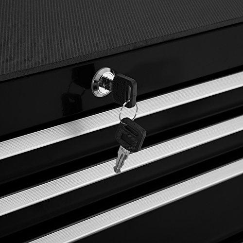 TecTake Werkzeugwagen Werkstattwagen | 7 verschließbare Schubfächer | Kugelgelagerte Gleitschienen | auf Rollen | -diverse Modelle- (Schwarz | Nr. 402800) - 4